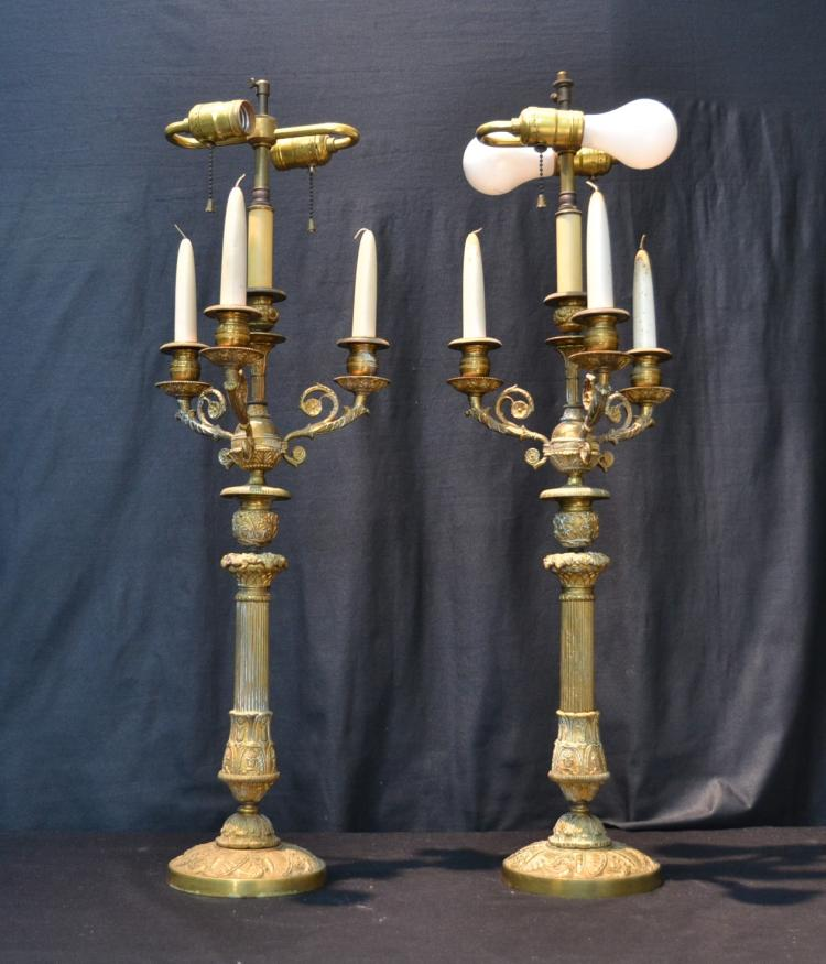 (Pr) 4-LIGHT BRONZE CANDLESTICK LAMPS
