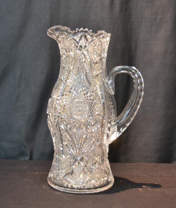 AMERICAN BRILLIANT CUT GLASS WATER PITCHER