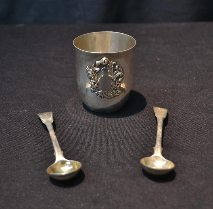 FRENCH STERLING SILVER CUP & (2) STERLING