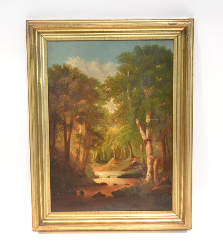 OIL ON BOARD FIGURES IN FOREST LANDSCAPE