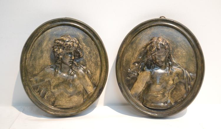 (2) TERRACOTTA PORTRAIT PLAQUES OF WOMEN