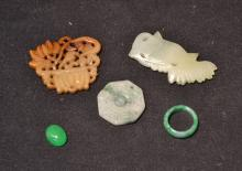 ASSORTED JADE PIECES INCLUDING FISH ,RING ,