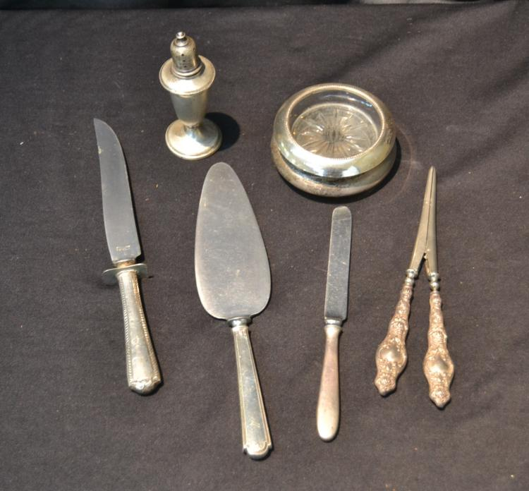 STERLING LOT - SERVINGS PIECES , SALT &