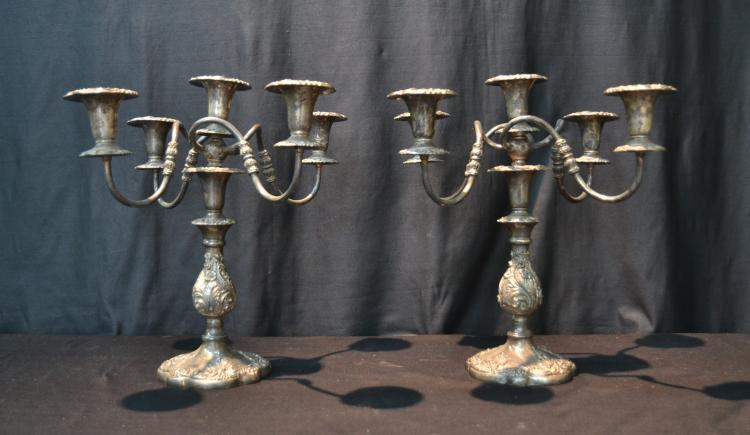 (Pr) 5-LIGHT SHEFFIELD SILVER PLATE CANDELABRAS