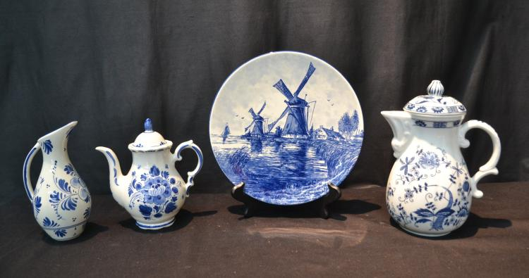 (4)pc LOT OF DELFT COFFEE POT , TEA POT, PITCHER