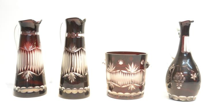 (2) RUBY CUT TO CLEAR PITCHERS , DECANTER &
