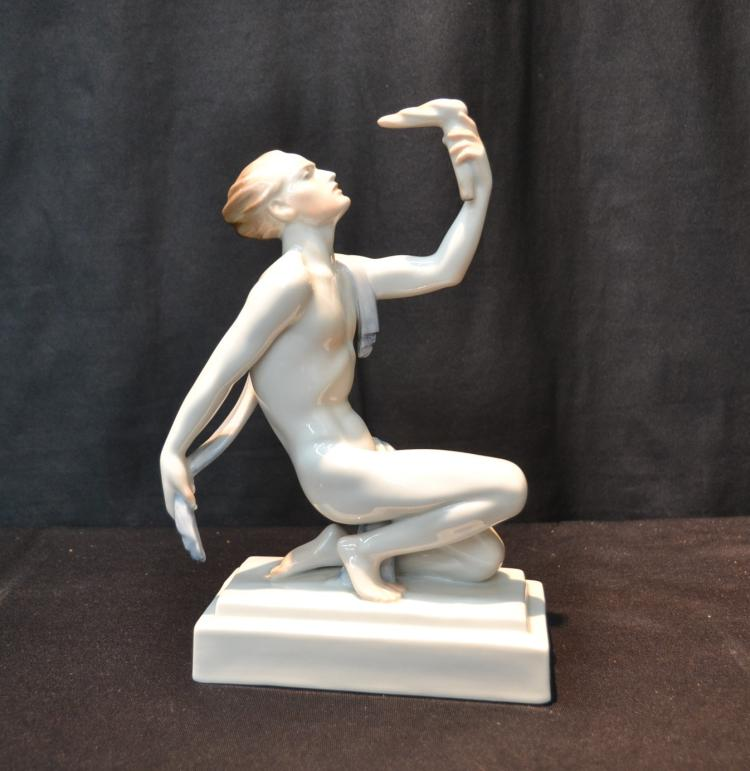 HEREND PORCELAIN SEMI NUDE MALE