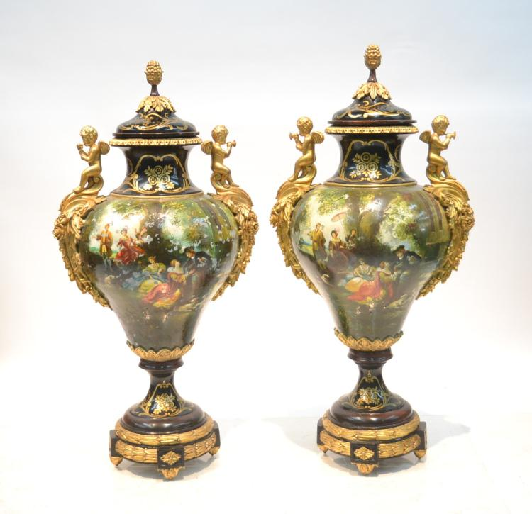 (Pr) LARGE COVERED WOOD URNS WITH PAINT DECORATED