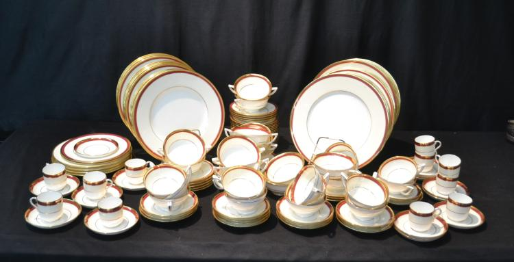 (132)pc RED & GOLD TRIM MINTON DINNER SET
