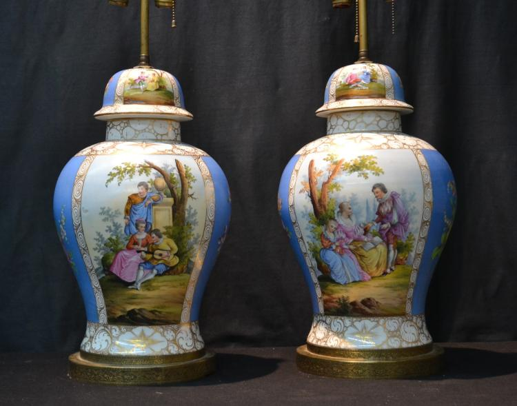 (Pr) LARGE HAND PAINTED DRESDEN GINGER JAR LAMPS