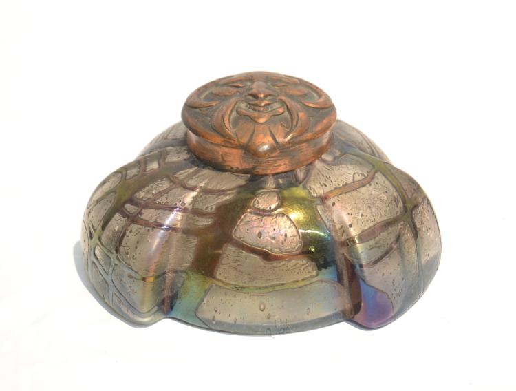 LOETZ IRIDESENT ART GLASS INKWELL WITH FIGURAL