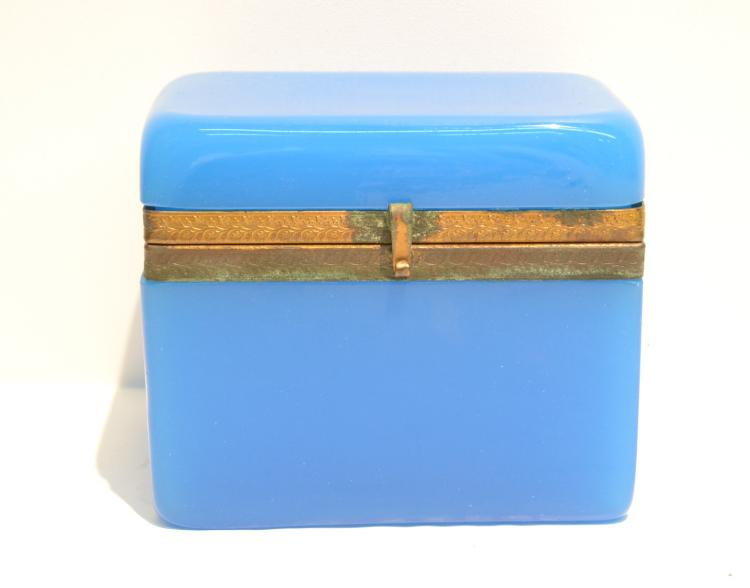ROBINS EGG BLUE OPALINE BOX WITH BRONZE MOUNTS