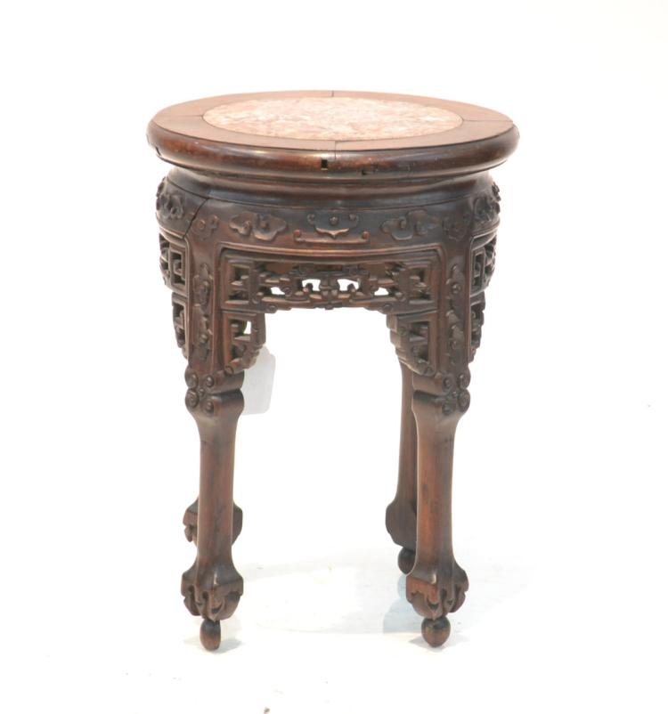 CHINESE MARBLE TOP TABORET STAND - 12
