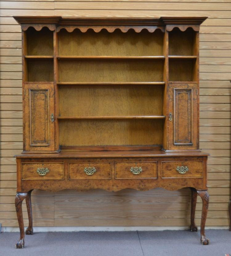 BURLED 2-PART HUTCH WITH CLAW FEET