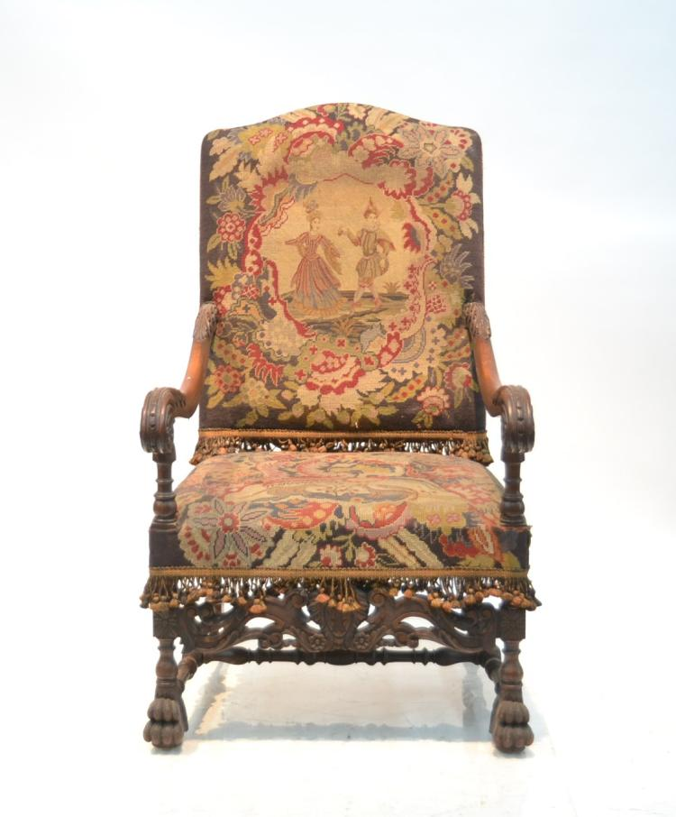 CARVED THRONE CHAIR WITH PETTIPOINT &