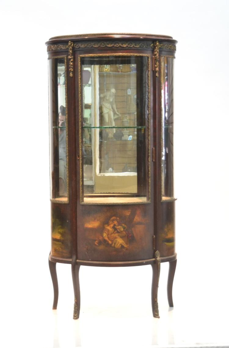 HAND PAINTED VERNIS MARTIN STYLE VITRINE WITH