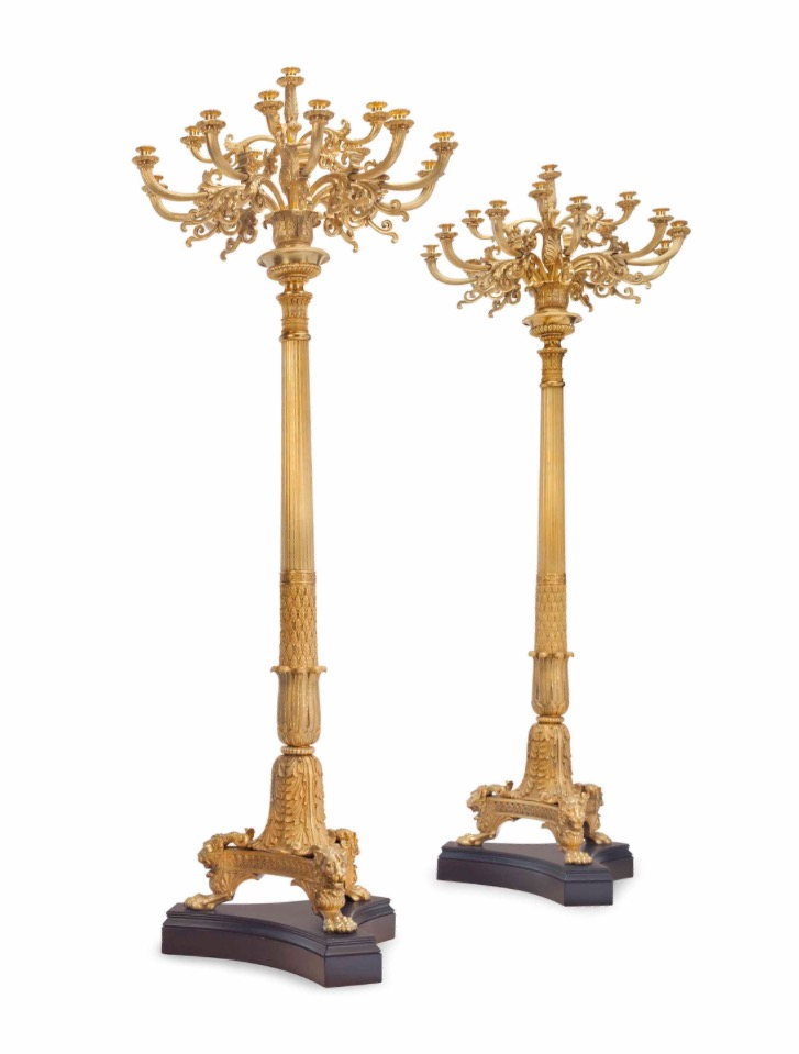 (Pr) DORE BRONZE ORMOLU 16- LIGHT TORCHIERES