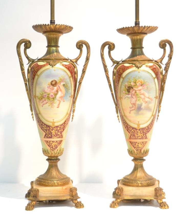 (Pr) LARGE ROYAL VIENNA HAND PAINTED LAMPS WITH