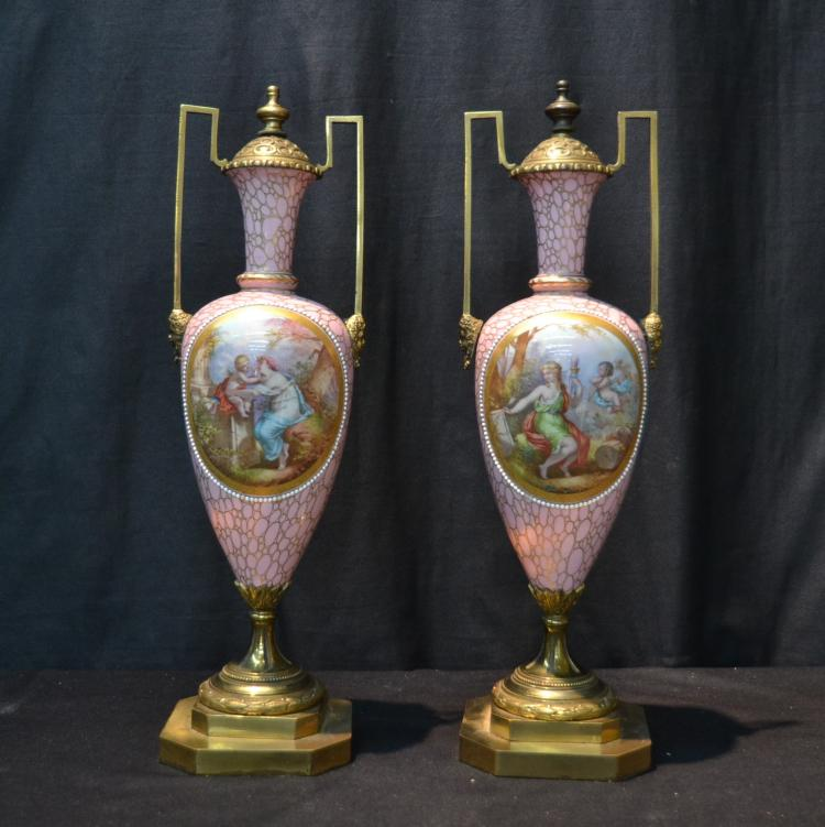 (Pr) PINK SEVRES URNS WITH HAND PAINTED