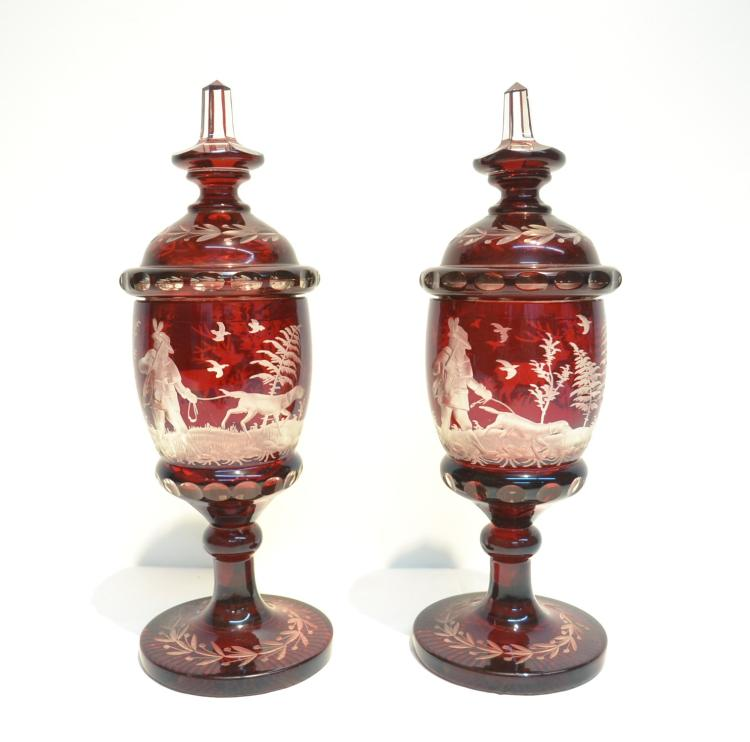 (Pr) RUBY ETCHED BOHEMIAN COVERED URNS WITH