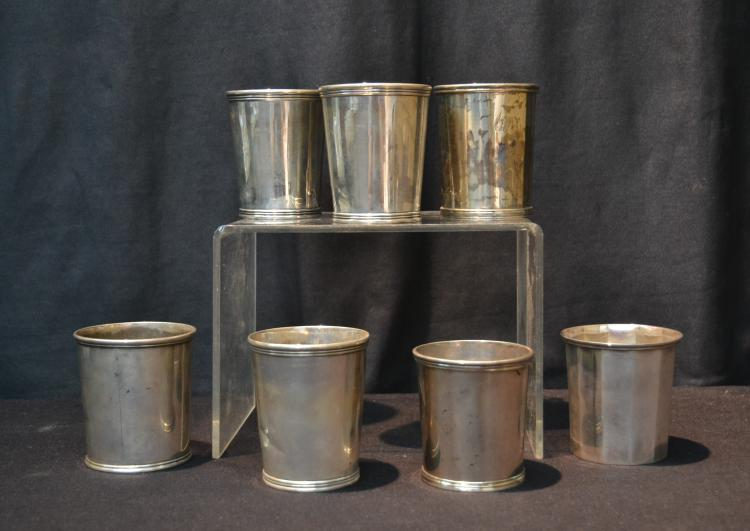 (7) EARLY 19thC STERLING SILVER BEAKERS
