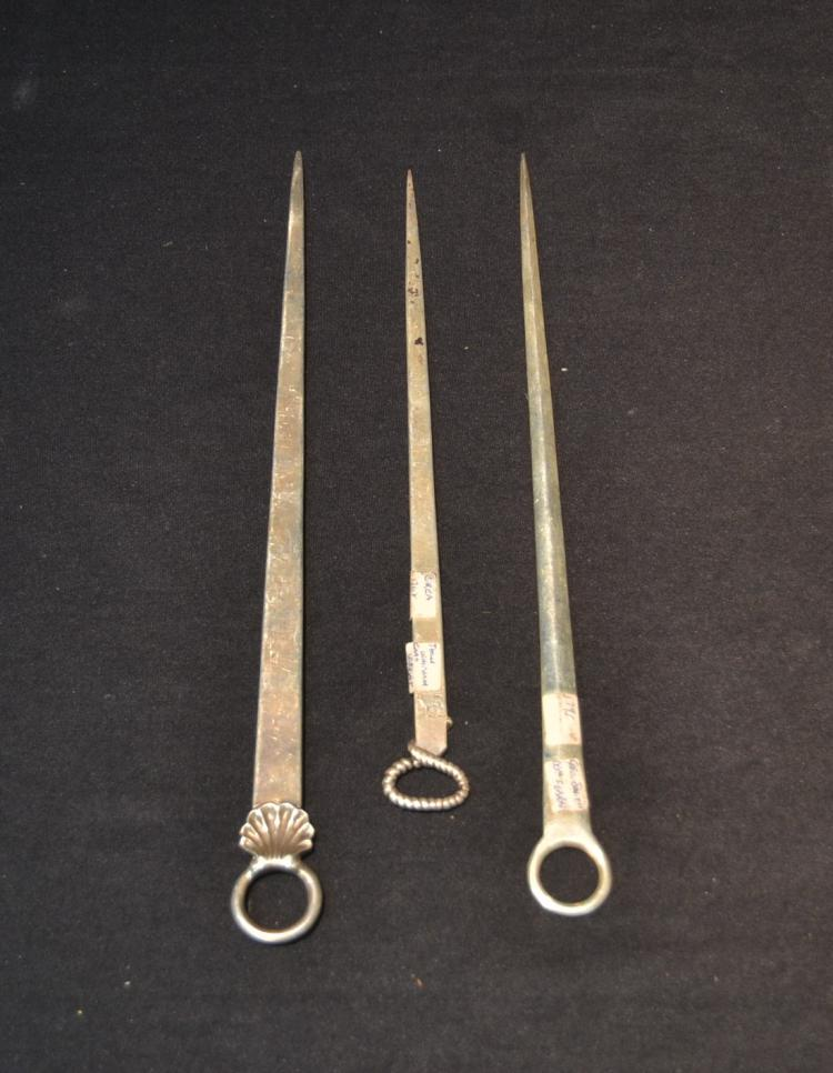 (3) 18thc - 19thC ENGLISH STERLING MEAT SKEWERS