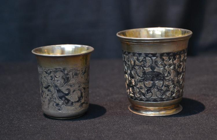 (2) RUSSIAN 84 SILVER ENGRAVED CUPS WITH