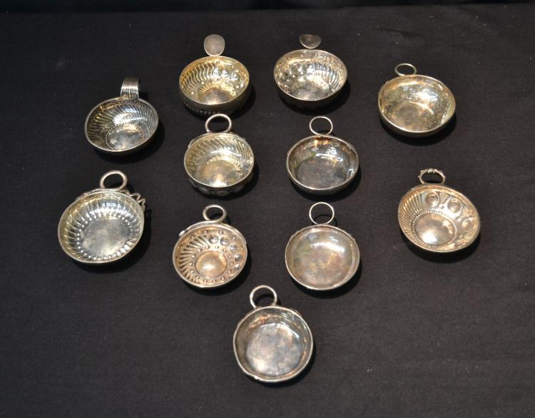 (11) EARLY 19thC STERLING SILVER PORRINGERS