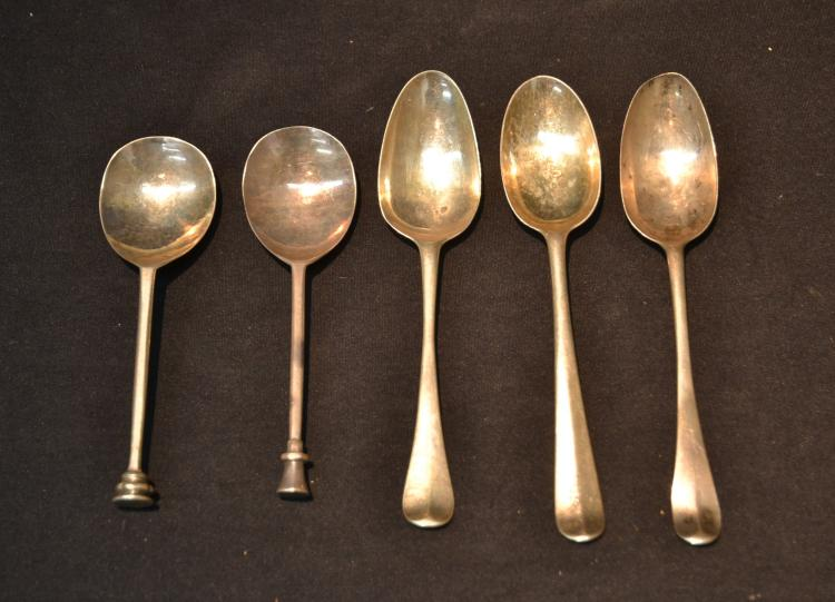 (5) 19thC STERLING SILVER SPOONS