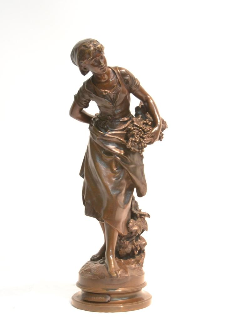 AFTER MATHURIN MOREAU , BRONZE GIRL CARRYING
