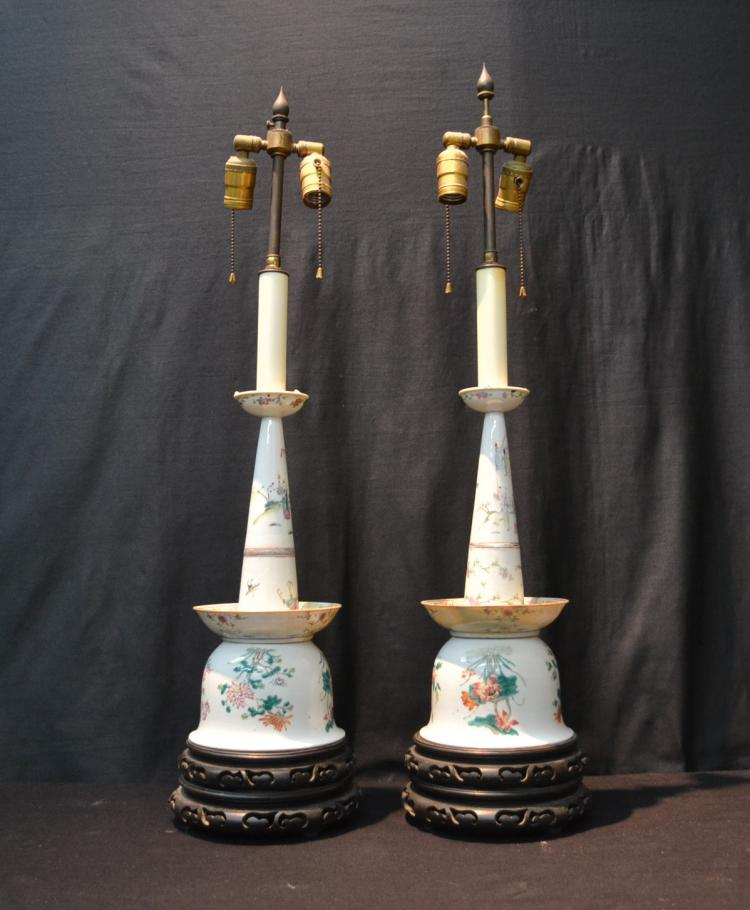 (Pr) UNUSUAL CHINESE PORCELAIN LAMPS WITH