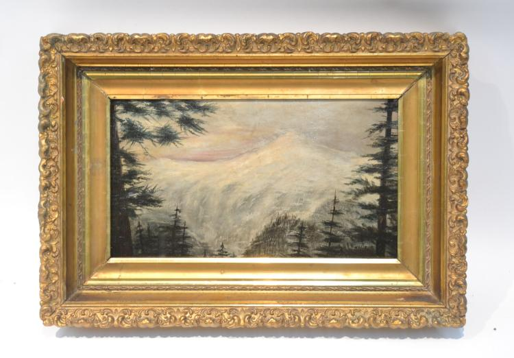 OIL ON PANEL MOUNTAIN LANDSCAPE IN PERIOD FRAME