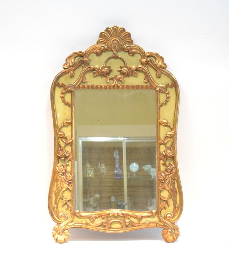 GREEN & GOLD PAINT DECORATED ITALIAN MIRROR