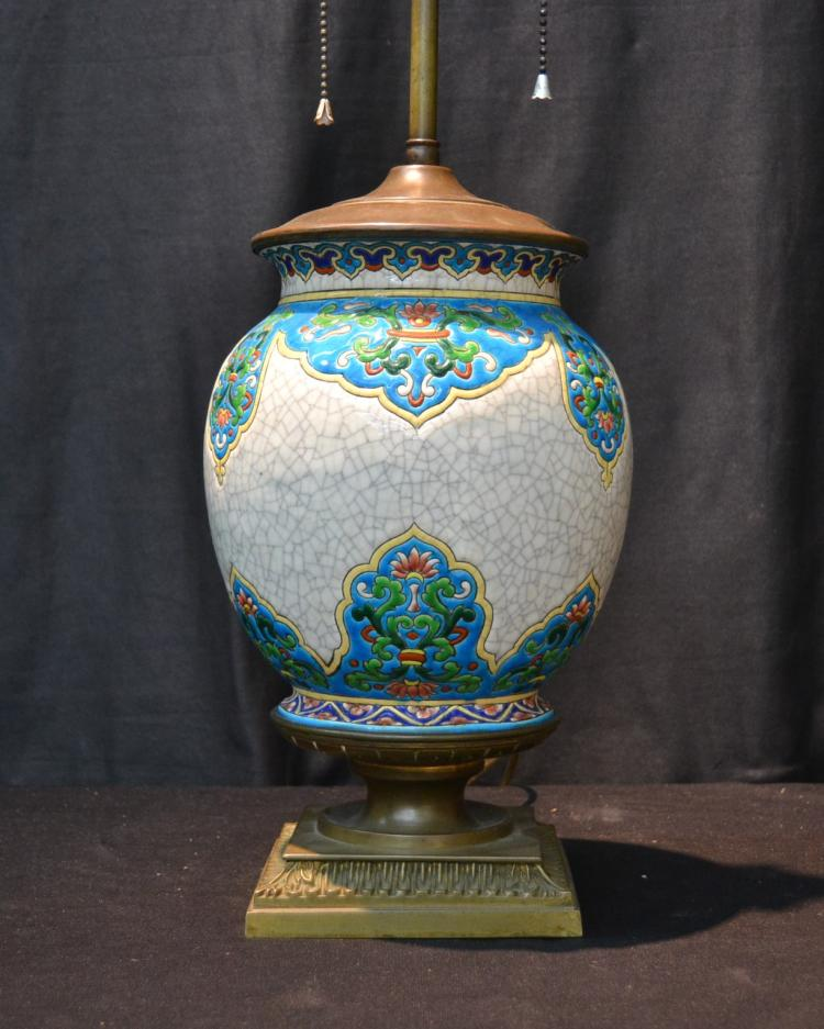 PORCELAIN BRONZE MOUNTED LAMP ; POSSIBLY