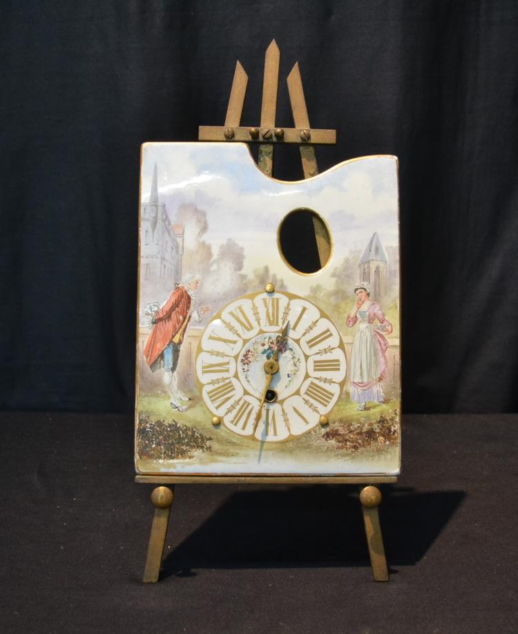 HAND PAINTED PORCELAIN CLOCK WITH FIGURES