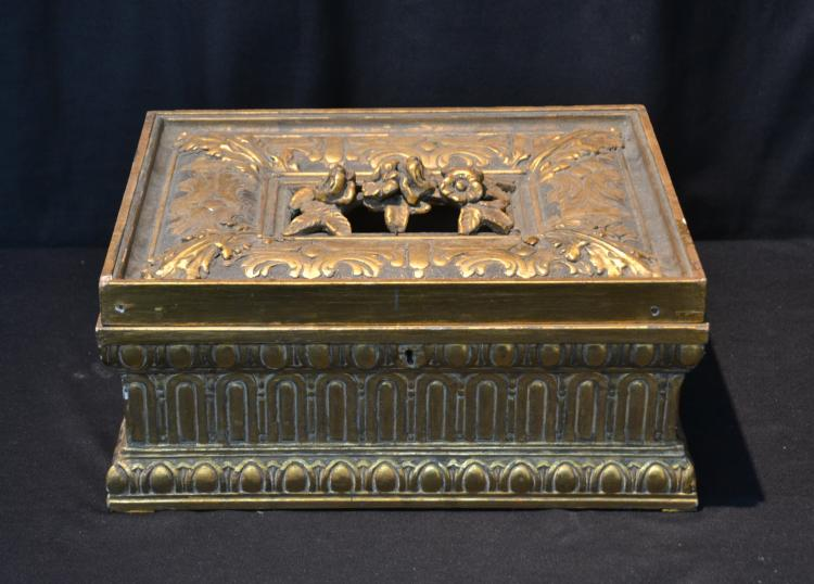 CARVED GILT WOOD BOX WITH FLOWERS & LEAVES
