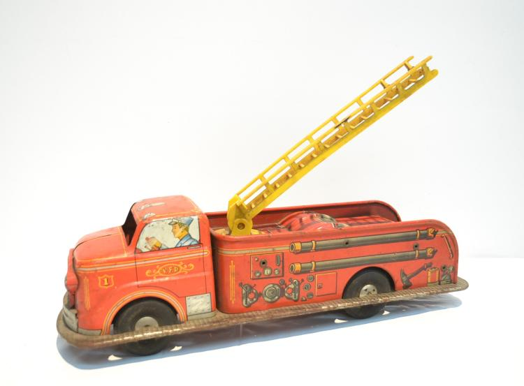 VINTAGE MARX Bros. LITHOGRAPHED TIN FIRE TRUCK