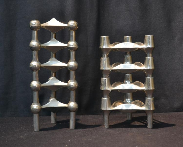 (2) MODERN CHROME STACKING CANDLESTICKS