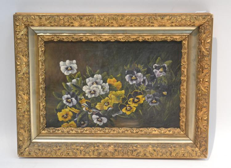 OIL ON CANVAS PANSIES STILL LIFE SET IN GILT FRAME