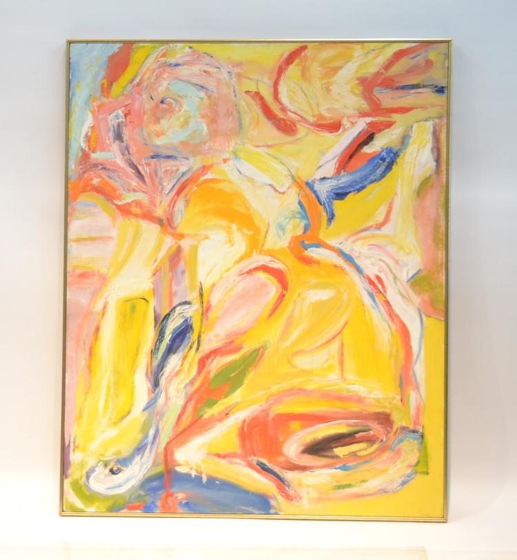 MODERN OIL ON CANVAS ABSTRACT OF RECLINING