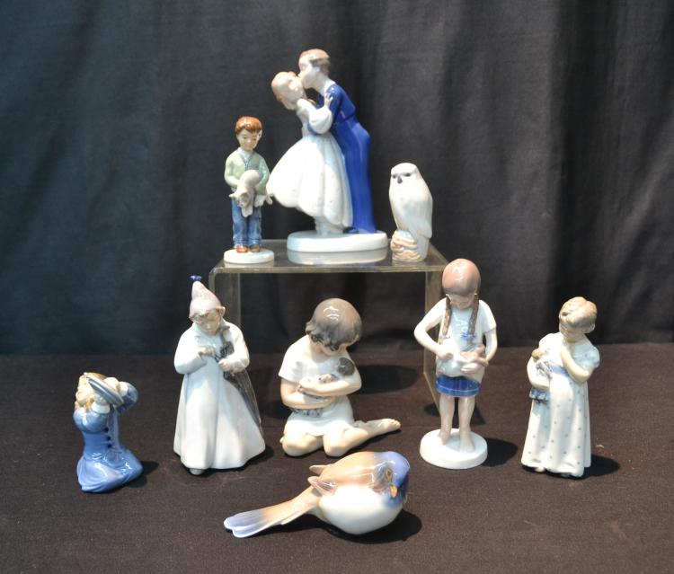 (9) ROYAL COPENHAGEN FIGURINES OF BOYS , GIRLS &
