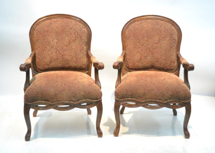 (Pr) CONTEMPORARY UPHOLSTERED ARM CHAIRS
