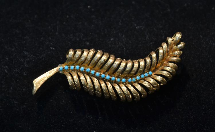 18kt GOLD (19) TURQUOISE LEAF PIN - 3
