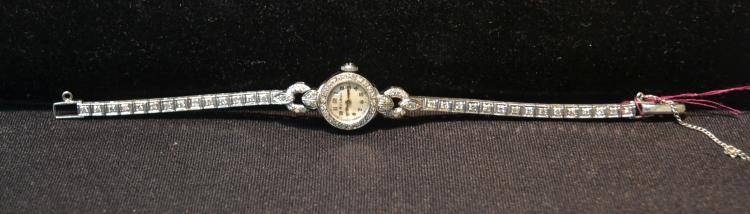 14kt WHITE GOLD & DIAMOND BULOVA WATCH