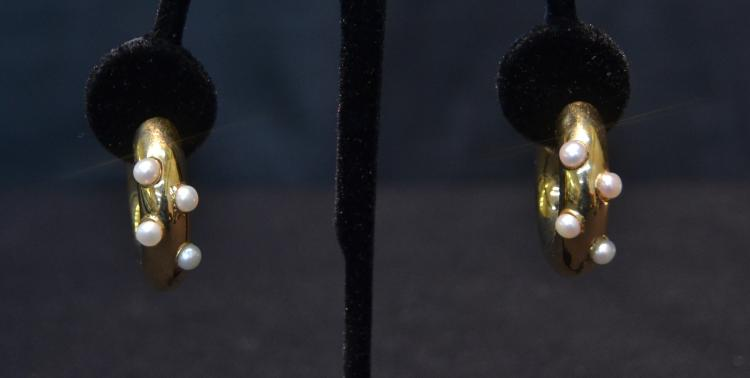 18kt PEARL HOOP EARRINGS -  1 1/2'