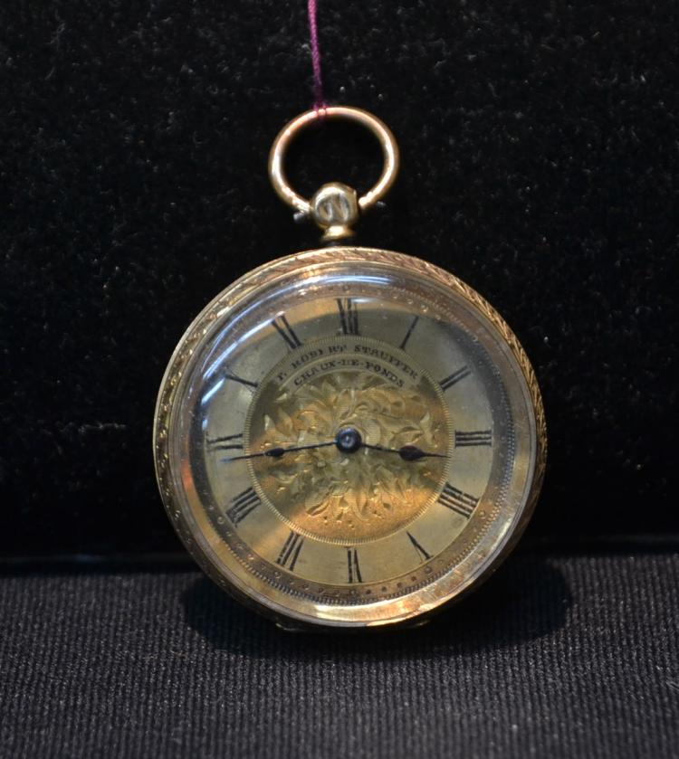18kt CHAUX DE FONDS KEY WIND POCKET WATCH