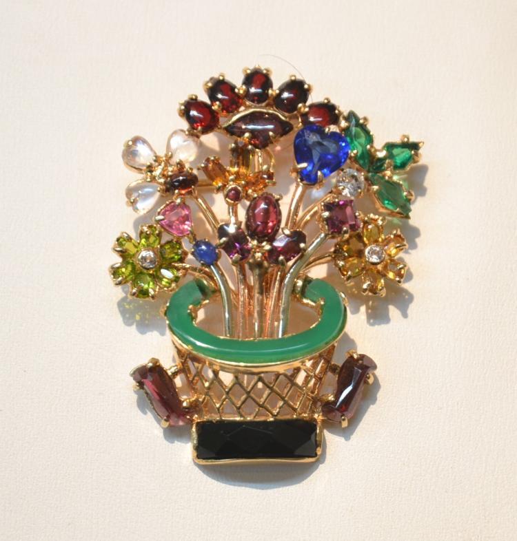 14kt GOLD MULTI PRECIOUS STONE FLOWER BASKET