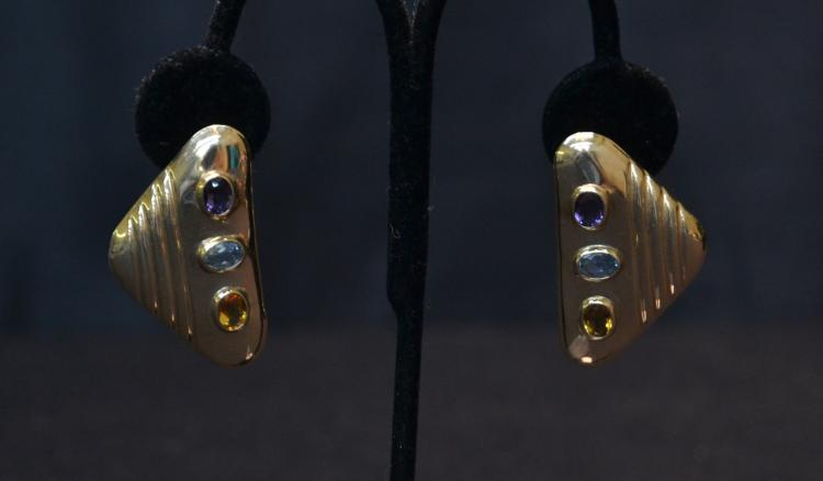 (Pr) 14kt GOLD EARRINGS WITH SEMI PRECIOUS STONES