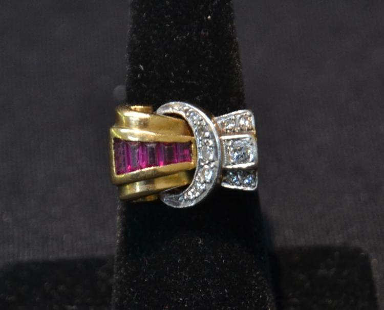 18kt RETRO DIAMOND & RUBY RING ; SIZE 7 ; 7dwt