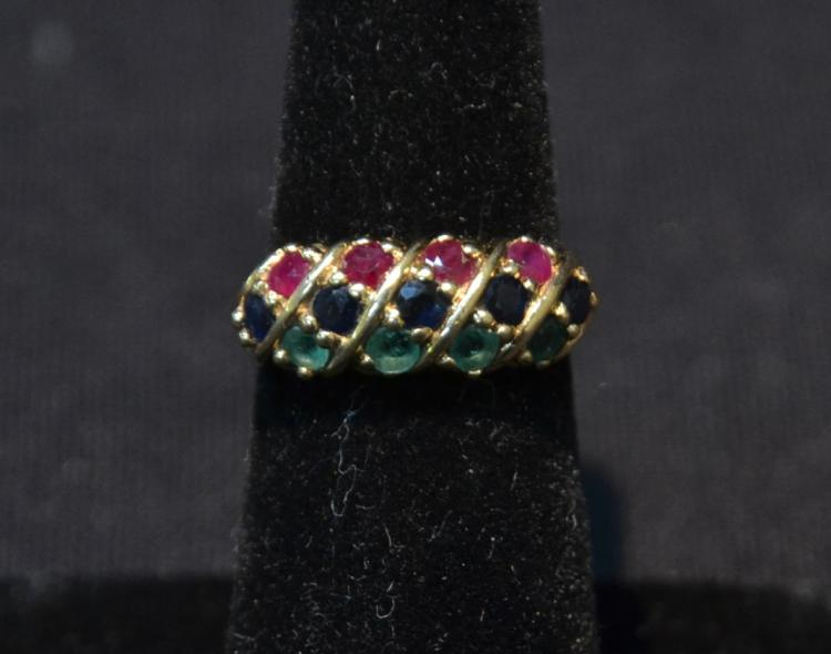 14kt GOLD & MULTI STONE RING - SIZE 6 ; 2.9dwt